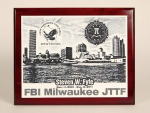 Laser Engraved Acrylic Cherry Wood Plaque