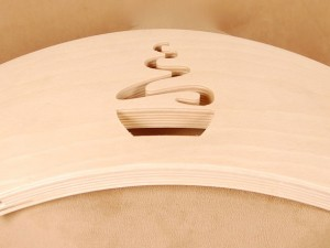 CNC Milled Wood Logo on Chair or Stool Back