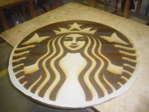 Starbucks Wall Mural Wood Engraving