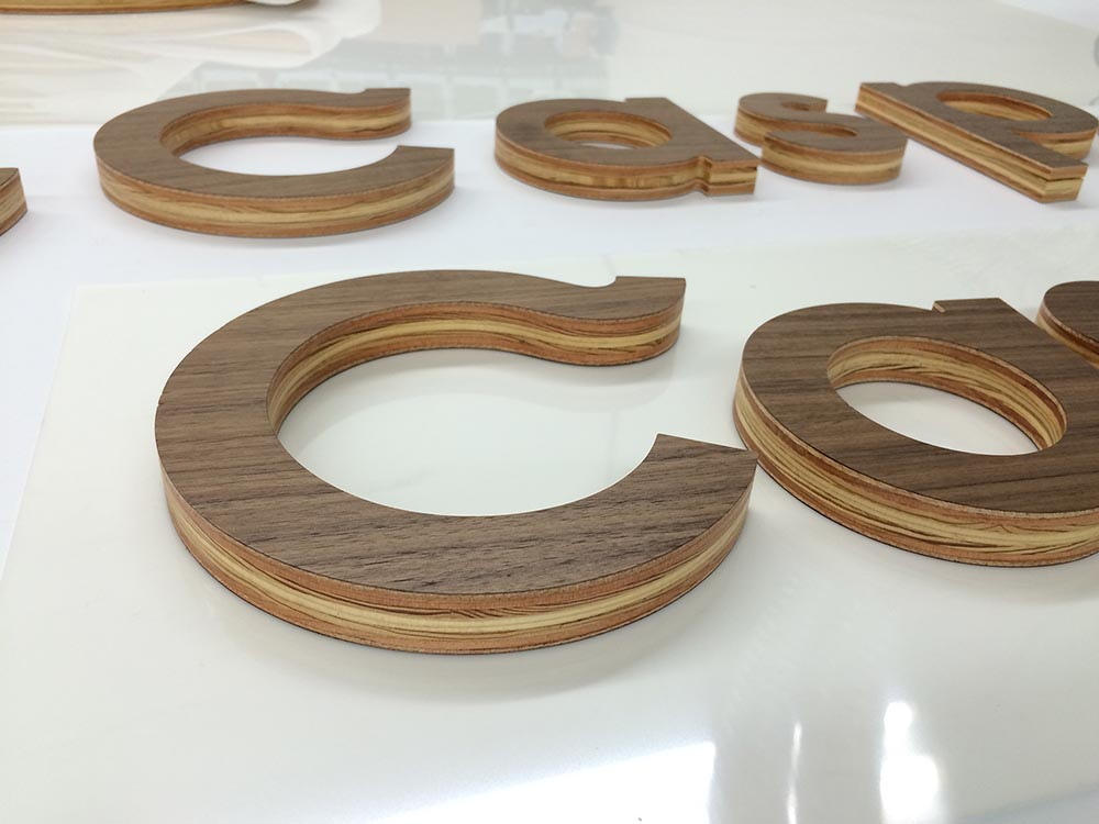Architectural CNC Routed Laminated Wood Letters